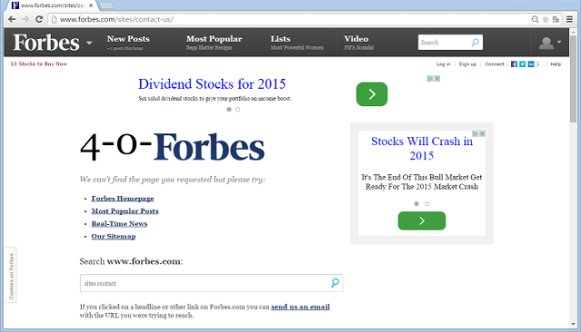 The contact us page on Forbes.com leads to a 404 Page
